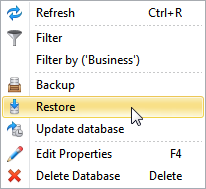 Backup and Restore options in Configurator