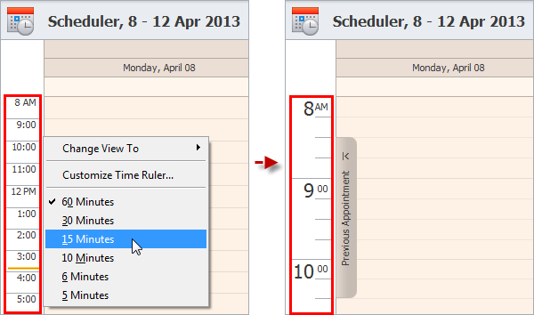 schedule tasks with time ruler