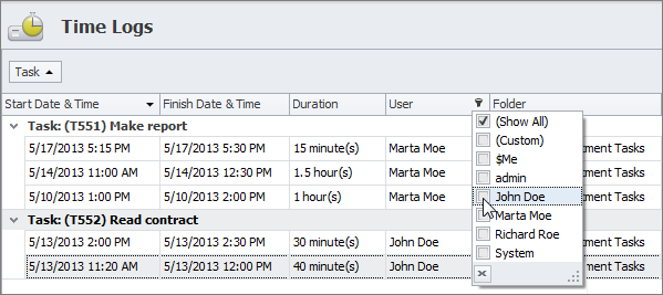 task time logs view